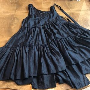 DKNY M Navy Silk Sheer Ruffled Long Tank or Mini
